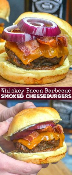 Whiskey infused, tender, smoked burgers are topped with thick slices of cheddar cheese, bright red onion rings, and basted liberally in an easy sweet & savory whiskey-based barbecue sauce. Sandwiched between pillow-y buns- these Pineapple Barbecue Sauce Infused Smoked Whiskey Bacon Cheeseburgers are the burgers to beat all other burgers. #whiskey #bacon #smoked #barbecue #cheese #burger