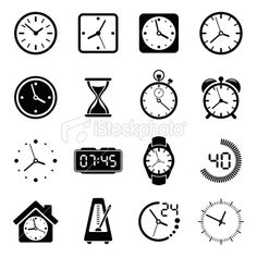 Time Clock Icon Set Royalty Free Stock Vector Art Illustration