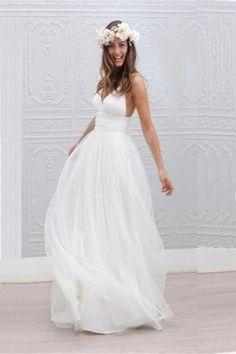Beach Wedding Dress,White Wedding Dresses,Spaghetti Straps Wedding Gown,A Line V Neck Backless Bridal Dress