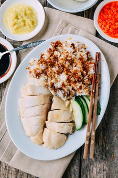 Hainanese Chicken Rice is a classic dish, beloved by people all over Asia. It takes a bit of work to make this recipe at home, but the results are worth it.
