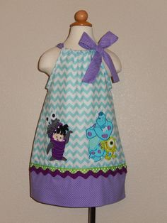 For Dax's 1st birthday party ..... Monsters Inc. BOO, Sulley and Mike Pillowcase Dress on Etsy, $40.00