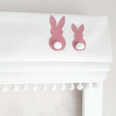 Pink Appliqued Bunnies Roman Blind with cute pom pom trim