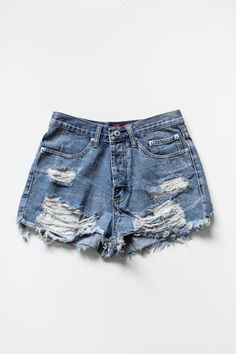 "Vintage inspired high waist denim shorts with frayed and ripped detailing for a ""destroyed"" look. Button-up fly with 2 front pockets and 2 back pockets. These s"