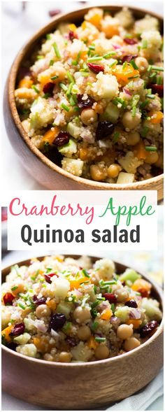 Cranberry Apple Quinoa Salad-This fall flavor Cranberry Apple Quinoa Salad is loaded with proteins from the quinoa and the chickpeas making it a complete, delicious and healthy vegetarian dish for you.