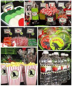 Want to throw a monster of a party this Halloween? Invite the King of Monster and throw a Godzilla themed movie party. Here are some decorations and treats ideas for that are sure to be a gigantic hit! 5th Birthday Party Ideas, Monster Birthday Parties, Party Themes, Godzilla Party, Godzilla Birthday Party, Dinosaur Party, Dinosaur Birthday, Boy Birthday, Movie Night Party
