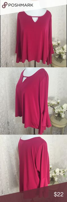 "Ny Collection Plus Size Keyhole-Neck Bell-Sleeve. Ny Collection Plus Size Keyhole-Neck Bell-Sleeve Top. B022. Sangria pink. 26"" across armpit to armpit 28"" long. 96% polyester 4% spandex. High quality. Loose fit NY Collection Tops Blouses"