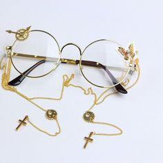 Kawaii Accessories, Jewelry Accessories, Fashion Accessories, Kawaii Fashion, Lolita Fashion, Circle Glasses, Cool Glasses, Fashion Eye Glasses, Fantasy Jewelry