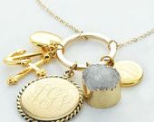 New Charm Necklace with Personalized Bar, Monograms, Druzy and Heart/Cross/Anchor