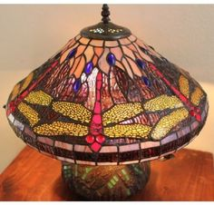 Tiffany Style Table Lamp Green DragonflyMosaic Round Base Desk Light Home  #TableLamp #Mosaic #Dragonfly #TiffanyStyle #StainedGlass #HomeDecor #Indoor