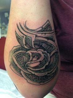 17 Hundred Dollar Bill Tattoo Pictures Bad Tattoos, Sweet Tattoos, Skull Tattoos, Rose Tattoos, Tattoos For Guys, Money Tattoo, 100 Tattoo, Dollar Tattoo, Hand Art