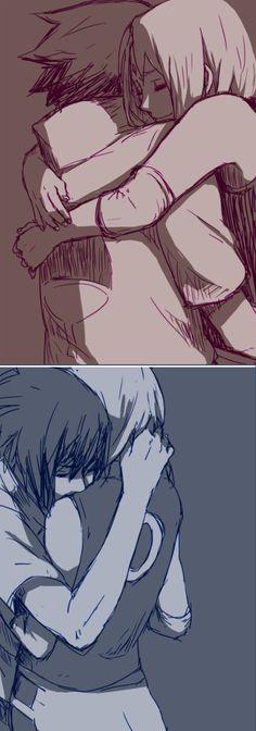 Sakura & Sasuke <3 I don't usually ship this, but i couldn't resist to pin this. It's so heartwarming~