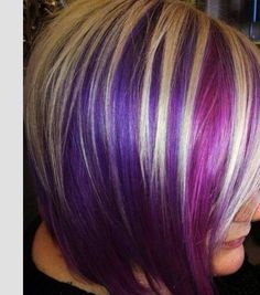 Love the color and cut. Pinks, purples, and blond. Oh my! #colorhair