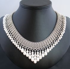 Sterling Chainmaille and Swarovski Pearl Collar Necklace and Earring Set - Silver Lion Jewelry. $1,500.00, via Etsy.