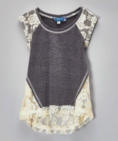 Gray & Ivory Lace Hi-Low Raglan Top