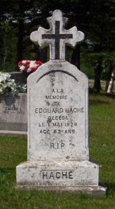 Headstone: Hache | St Joachim Cemetery | Bertrand (Gloucester) New Brunswick Genealogy