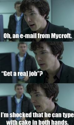 I'll have to buckle down and watch the BBC Sherlock pilot for this banter. Holmes Sherlock Bbc, Sherlock Meme, Moriarty, Sherlock Series, Johnlock, Destiel, Martin Freeman, Benedict Cumberbatch, Detective