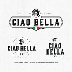 Ciao Bella - Design a Italian cafe and restaurant logo - Ciao Bella Italian Cafe and Kitchen. Cafe during the day, high energy restaurant at night. Logo Restaurant, Italian Restaurant Logos, Logo Pizzeria, Italian Logo, Italian Cafe, Restaurant Menu Design, Pizza Restaurant, Pizzeria Design, Greens Restaurant