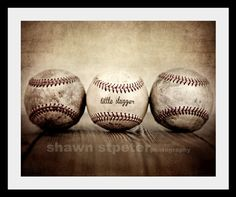 CLEARANCE 40 OFF Vintage Baseballs Little Slugger by shawnstpeter, $18.00