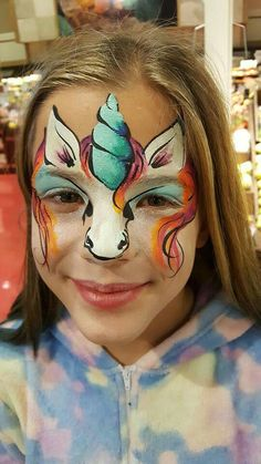 Einhorn - Famous Last Words Horse Face Paint, Face Painting Unicorn, Girl Face Painting, Face Painting Designs, Unicorn Mask, Unicorn Facepaint, Little Girls Makeup, Animal Face Paintings, Professional Face Paint