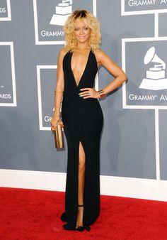 Rihanna @ Grammys 2012 in this sexy black Giorgio Armani - love the hair too