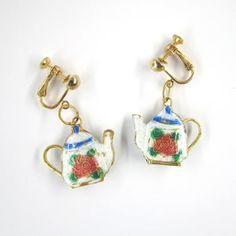 Rose Teapot Earrings Enameled White Red Blue Screw back | Etsy Orange Roses, Screw Back Earrings, Vintage Roses, Teapot, Red And Blue, Enamel, Hand Painted, Gifts, Etsy