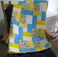 Rubber Duckie Blues from the Baby Quilt Lady at Unique Baby Quilt Boutique. http://uniquebabyquiltboutique.com/