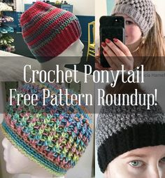 If you're looking for a free crochet ponytail hat pattern, you're in luck! Here's a list of the most popular free crochet beanie ponytail hat patterns. Crochet Adult Hat, Crochet Cap, Crochet Beanie, Crochet Scarves, Crochet Stitches, Free Crochet, Crochet Patterns, Crochet Towel, Crocheted Hats