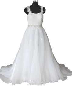 FairOnly Lace Crystal Sweetheart  Knotbow Organza Wedding Dress Bridal Gown