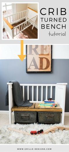 Repurposed Crib Turned Kids Bench • Grillo Designs