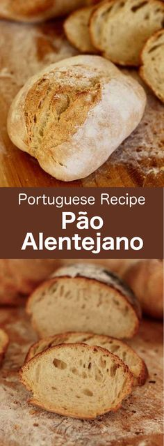 Pão alentejano, the Portuguese name for Alentejo bread, is a delicious, long-fermented bread made with natural yeast starter. It has a slightly acidic aftertaste, a compact crumb and a thick rustic crust. Portuguese Bread, Portuguese Desserts, Portuguese Recipes, Portuguese Rolls Recipe, Gourmet Desserts, Dessert Recipes, Alcoholic Desserts, Plated Desserts, Bakery Recipes