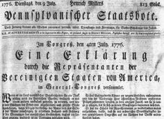Was the Declaration of Independence first published in German? | Wells ...