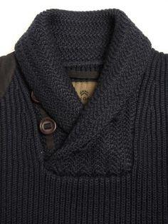 Chunky shawl collar sweater