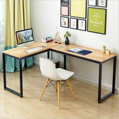 L-Shaped Home Office Corner Desk Wood top,Pc Laptop Table Writing Desk Worktable Office Table Computer Table Computer Desk-C – home office design layout Mesa Home Office, Home Office Desks, Office Decor, Table Desk Office, Table D'angle, Corner Table, Dining Table, Bureau Design, Table Furniture