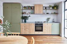 modern plywood kitchen with khaki green laminate and sweet chestnut veneer Purple Kitchen Decor, Kitchen Decor Themes, Vintage Kitchen Decor, Farmhouse Kitchen Decor, Home Decor, Modern Retro Kitchen, Country Farmhouse, Modern Kitchen Furniture, Kitchen Interior