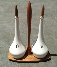 Mid Century Oil and Vinegar Set with Stand by themodfix on Etsy, $49.00
