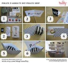 DIY Pirate Boat - Can it be simplified? Pirate Day, Pirate Birthday, Pirate Theme, 9th Birthday Parties, Birthday Fun, Birthday Ideas, Pirate Party Centerpieces, Twins 1st Birthdays, Nautical Party