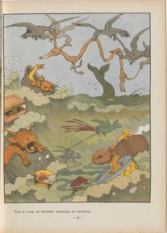 Illustration from children's book: 'Gédéon Traverse l'Atlantique' by Benjamin Rabier, 1933