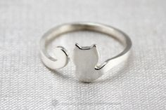 Sterling Silver cat ring Kitty ring Cat by TaniaWonderland on Etsy, $24.99