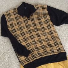 "Burberry shirt, pullover, XL 100% cotton Burberry pullover, XL, true to size or larger, chest 23"", length 29"". Zip neck, NWOT. Back is all black Burberry Sweaters"