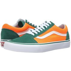 f88c2a2c51e Vans Old Skool ((Brite) Verdant Green/Neon Orange) Skate Shoes ($60) ❤  liked on Polyvore featuring shoes, orange leather shoes, orange shoes, ...