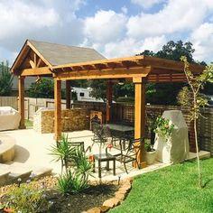 Rough cedar gable roof patio cover with exposed cedar ceiling and attached rough cedar pergola - Yelp