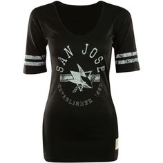 Retro Brand Women's San Jose Sharks Distressed Graphic T-Shirt featuring polyvore fashion clothing tops t-shirts black and white graphic tees striped t shirt cotton t shirts logo t shirts stripe tee