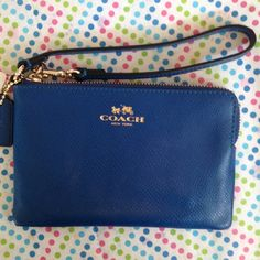 "Coach royal blue leather wristlet NWT Royal blue pebble leather wristlet, gold tone hardware, 6x4"", corner zip, 2-card slots. Fits iPhone 5: 2 1/2x5 1/8"". Coach Bags Clutches & Wristlets"