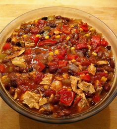 BBQ Bean Soup with Trader Joe's Chickenless Strips, beans, peppers and corn.