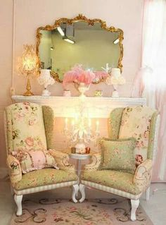 Pastel soft decoration with a little touch of romance and glam | Table Lamp | Chandelier Table | sofa | rugs http://www.bykoket.com/ Lets create this look in the lobby against one wall. Is this just a shelf on the wall that creates 2 chairs of a fireplace? :)