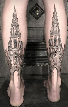 Cathedral leg tattoos Ŧrippy Ŧattoo by Tattoos For Lovers, Life Tattoos, Body Art Tattoos, New Tattoos, Sleeve Tattoos, Cool Tattoos, Awesome Tattoos For Guys, Black And Grey Tattoos, Black Tattoo Art