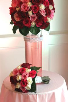 Red Rose Centerpeice and bridal bouquet