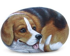 Wolf Hand Painted Stone Rock Painting Art by by RobertoRizzoArt