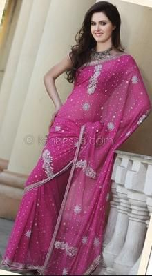 Elegant Pink Embroidered Saree