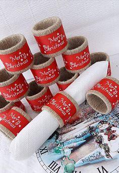 Christmas Napkin Rings, Christmas Tree Napkins, Christmas Table Settings, Christmas Tablescapes, Christmas Sewing, Christmas Bags, Christmas Table Decorations, Christmas Crafts For Kids, Simple Christmas